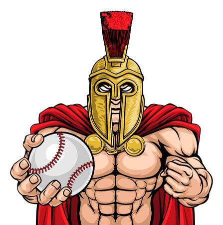 Spartan Trojan Baseball Sports Mascot Illusztráció