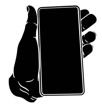 Hand Holding Mobile Phone Vintage Style Illustration