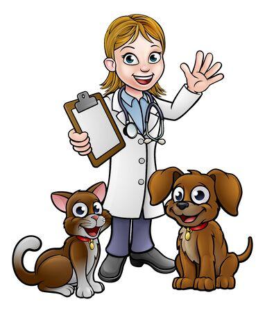 Personaje de dibujos animados veterinario con gato y perro