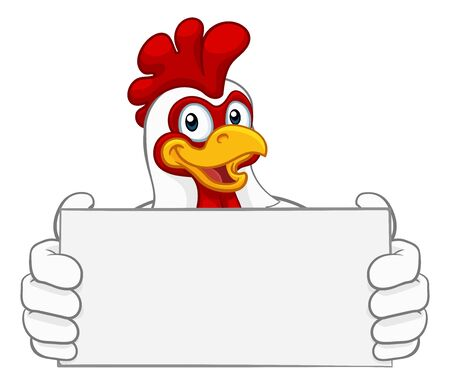 Chicken Rooster Cockerel Cartoon Character Sign Foto de archivo - 134306478