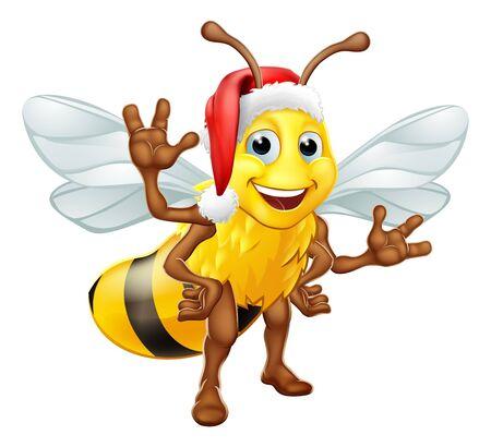 Honey Bumble Bee in Santa Christmas Hat Cartoon
