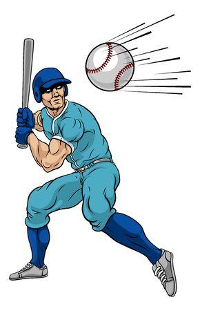 Jugador de béisbol, balanceo, bate, en, pelota, para, jonrón