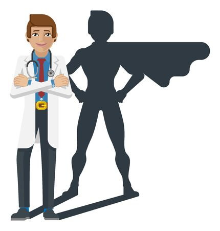 Young Medical Doctor Super Hero Cartoon Mascot