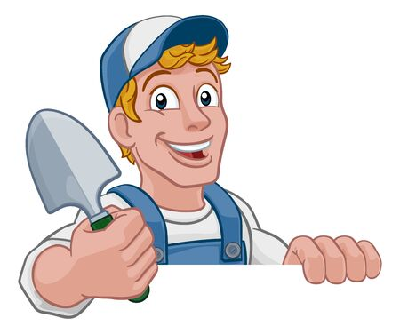 Gardener Cartoon Garden Spade Handyman Farmer