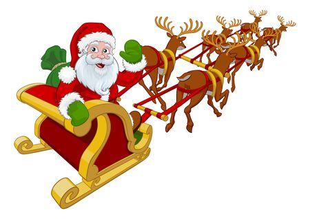 Santa Claus Flying Christmas Sleigh et Rennes Vecteurs