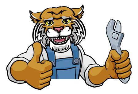 Wildcat Plumber Or Mechanic Holding Spanner Illustration