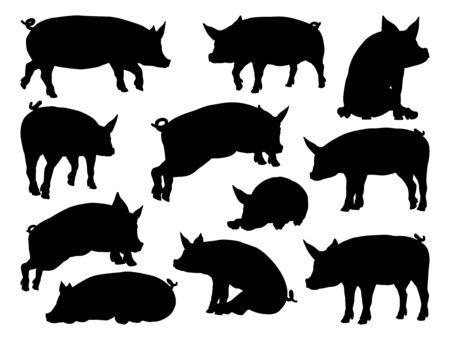 Conjunto de animales de granja de siluetas de cerdo