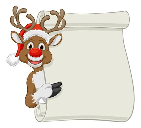Santa Hat Reindeer Christmas Scroll Sign Cartoon Çizim