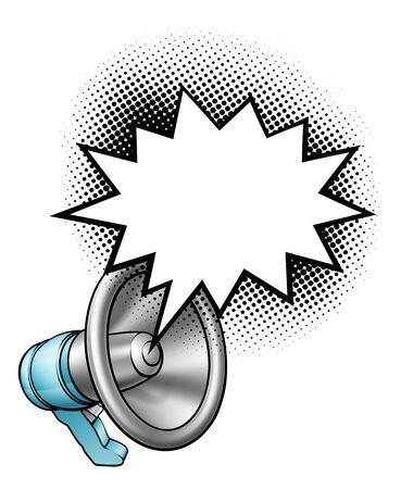 Bullhorn Megaphone Speech Bubble Vektorové ilustrace