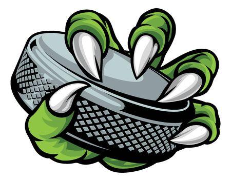 Ice Hockey Puck Claw Monster Sports Hand Vektoros illusztráció