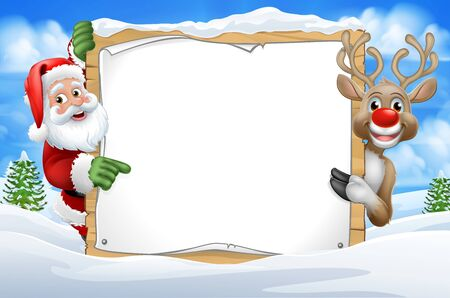 Santa Claus and Reindeer Christmas Snow Scene Sign
