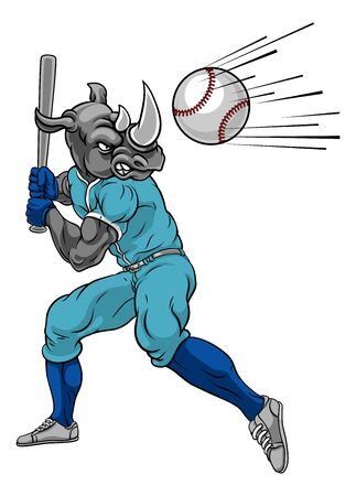 Rhino Baseball Player Mascot Swinging Bat at Ball