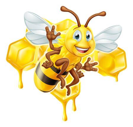 Personaje de dibujos animados de abeja con panal