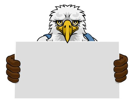 Eagle Cartoon Mascot Handyman Holding Sign Çizim