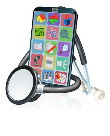 Mobile Phone Health Medical App Stethoscope Design Illustration