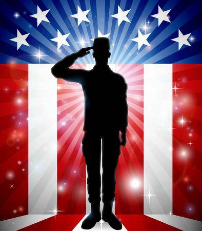 Patriotic American Soldier Saluting Flag
