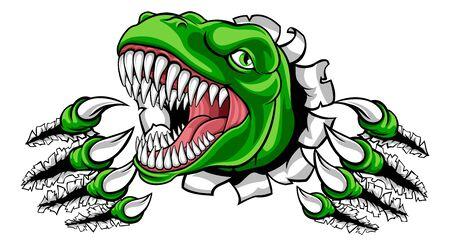 Dinosaur T Rex or Raptor Cartoon Mascot Illustration