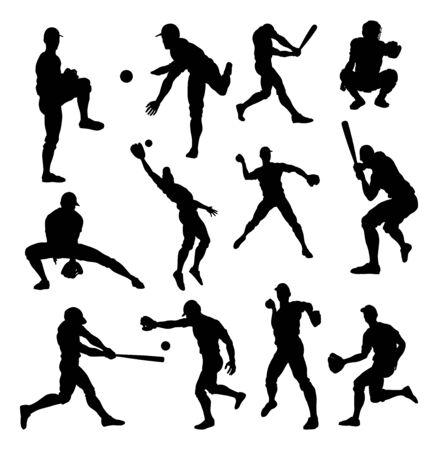Siluetas de jugador de béisbol Ilustración de vector