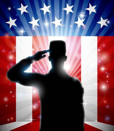 American Patriotic Soldier Saluting Flag
