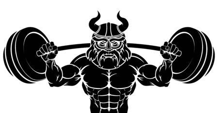 Viking Weight Lifting Body Building Mascot Standard-Bild - 134641355