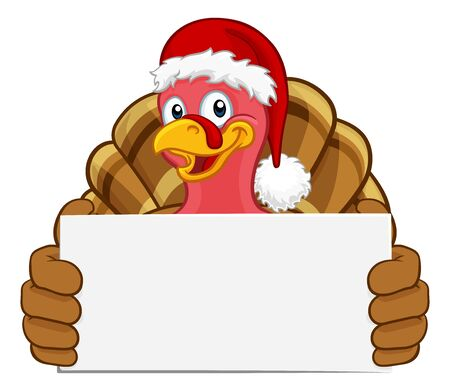 Turkey In Santa Hat Christmas Cartoon Holding Sign