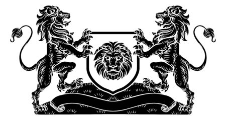 Lion Knight Crest Heraldic Shield Coat of Arms