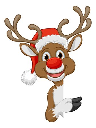 Christmas Reindeer in Santa Hat Cartoon Character