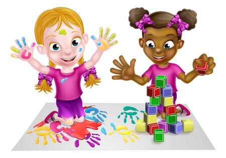 Zwei kleine Mädchen, ein schwarzes und ein weißes, haben Spaß beim Spielen mit Farben und Bauklötzen. Vektorgrafik