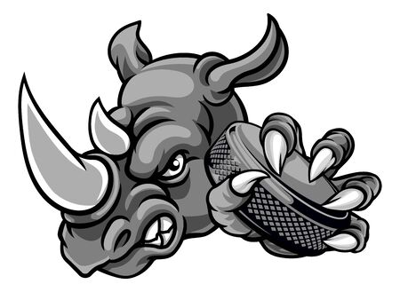 Mascotte de sport animalier joueur de hockey sur glace rhinocéros