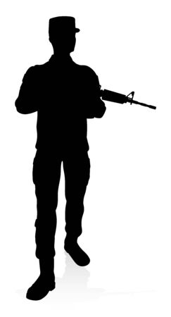 High quality detailed silhouette of a military army soldier