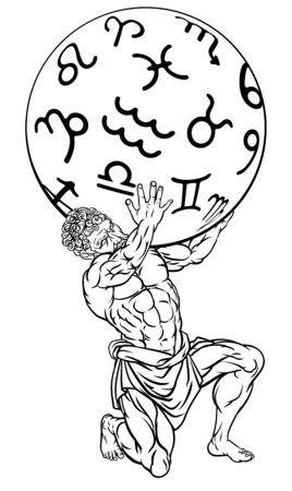 Atlas Titan Holding Heavens Mythology Illustration
