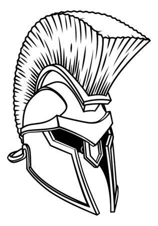 Gladiator Spartan Trojan Roman Helmet Ilustrace
