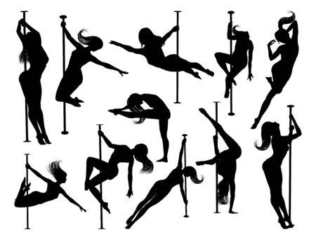 Pole Dancing Women Silhouettes Set Ilustrace