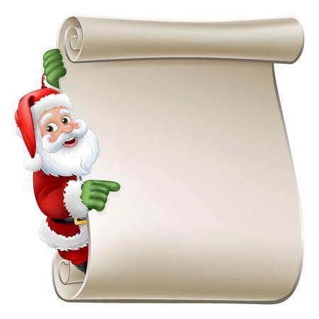 Santa Claus Scroll Sign Christmas Cartoon