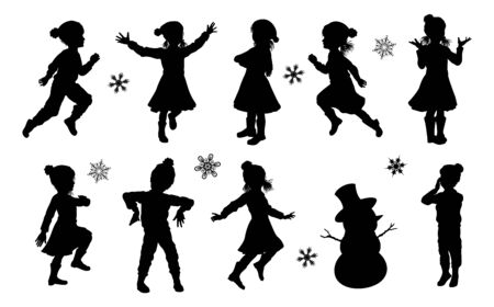 Silhouette Children Christmas Winter Clothing Set