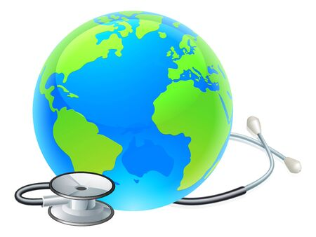 Globe World Health Day Earth Stethoscope Concept