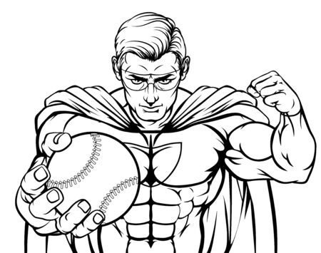 Superhero Holding Baseball Ball Sports Mascot