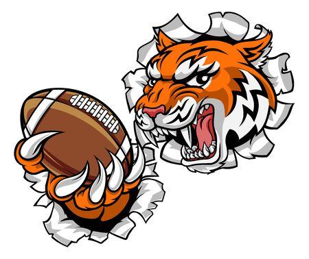 Mascota de deportes de jugador de fútbol americano tigre Ilustración de vector