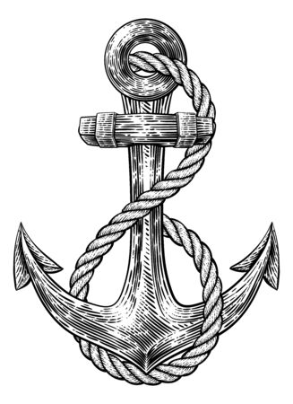 Anchor from Boat or Ship Tattoo Drawing Vettoriali