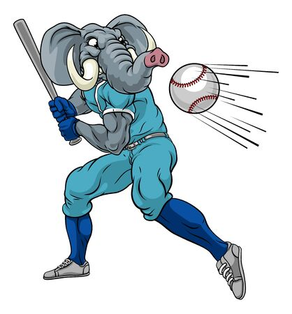Elephant Baseball Player Mascot Swinging Bat