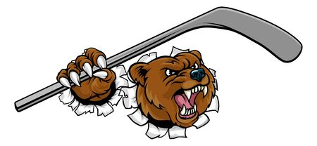 Bear Ice Hockey Player Animal Sports Mascot
