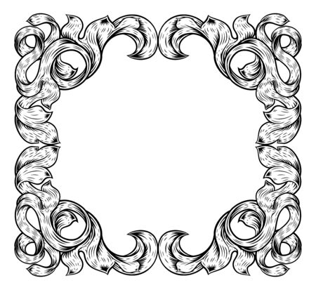 Filigree Leaves Frame Floral Border Scroll Pattern Ilustrace