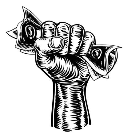 Puño mano sosteniendo dinero en efectivo Ilustración de vector