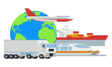 Logistic Transport Globe Cargo Freight Concept