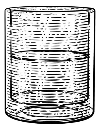 Drinks Glass in a Woodcut Etching Engraved Style
