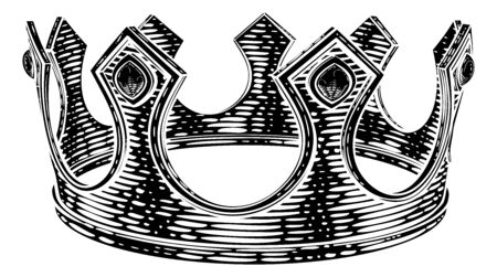 Royal King Crown Vintage Retro Style Illustration Vettoriali