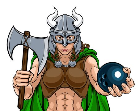Viking Female Gladiator Bowling Warrior Woman Ilustracja