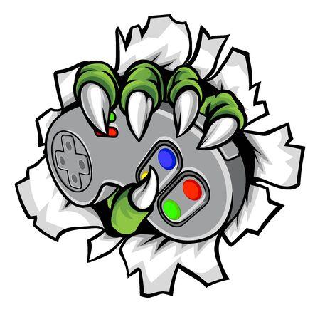 Monster Gamer Claws sosteniendo el controlador de juegos