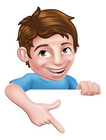 Niño, niño, caricatura, niño, carácter, señalar con el dedo, señal Ilustración de vector