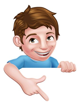 Boy Kid Cartoon Child Character Pointing at Sign Illustration